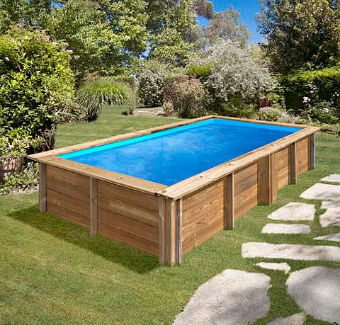 Piscina desmontable rectangular madera